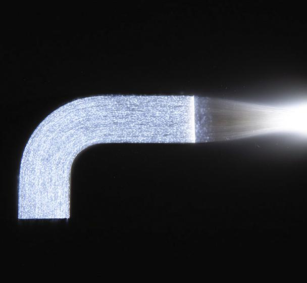 Fiber optic l-shaped panel shown lit