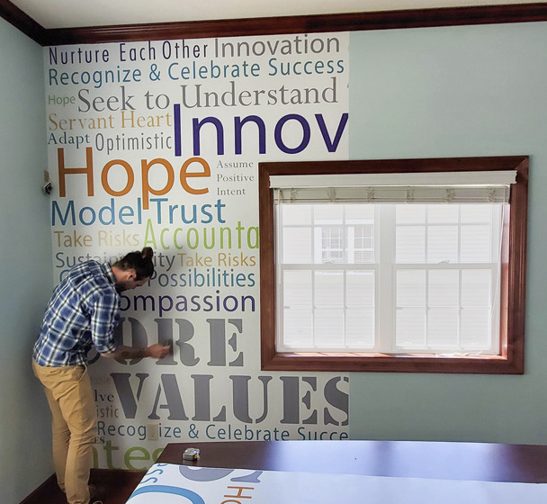 Wall graphic installation